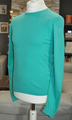 Hugo Boss Mens 100% Cotton Jumper Sweater Pullover Turquoise S / Small Slim Fit