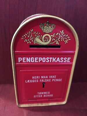 "Unusual Vintage Danish""Pengepostkasse"" Post Mail Box Bank Tin comes with Key"