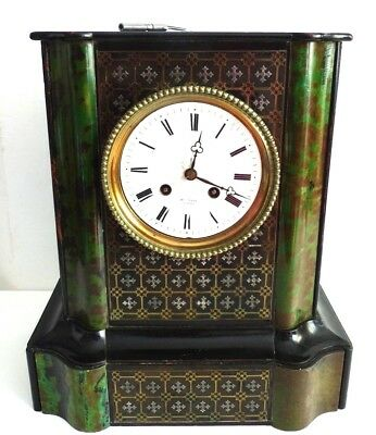 Antique French Late 19th Century Ebonised Boulle faux Green Tortoiseshell Clock