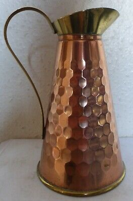 Hammered Style Ornamental Copper & Brass Handled Jug / Pitcher (Bc9)