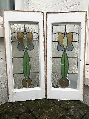 Pair Of Stained Leaded Light Glass Wooden Windows