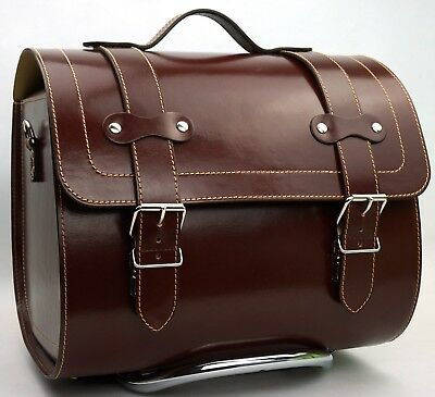 Large Leather Top Case Roll Bag Vespa Primavera PX LXV GTS GTV Vintage Brown