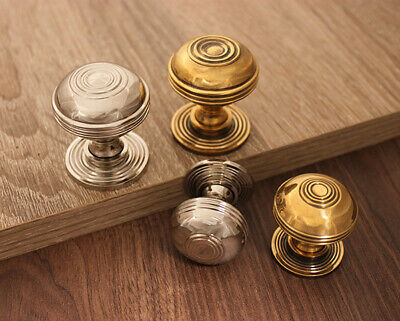 Antique Period Old Style Cabinet Cupboard Drawer Chest Knob Solid Brass / Nickel