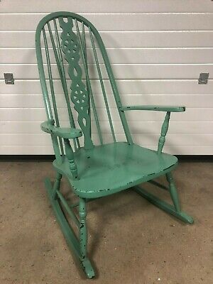Antique Wheel Back Windsor Rocking Chair c1910 with Vintage Paint Patina