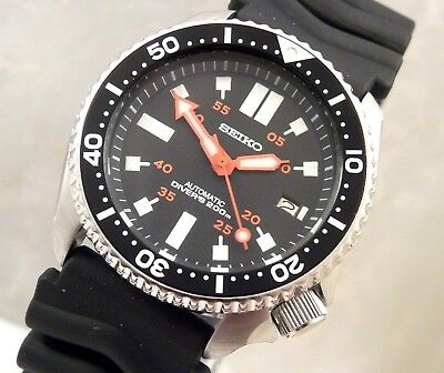 Seiko Black Submariner Hammer Markers Date Automatic Diver's Watch Custom 7002