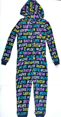 SO Intimates Juniors #LOVE Faux Fur One-Piece Hooded Pajamas, Med MSRP $48.00