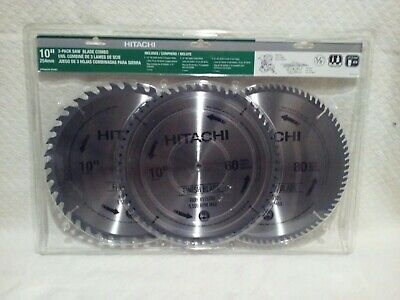 "HITACHI 3 PACK 10"" SAW BLADE Combo Pack - NEW 40, 60, & 80 tooth"