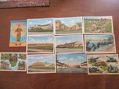 11 unused linen picture post cards World War II WWII