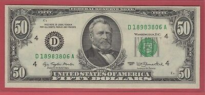 1977 (D)  Federal Reserve Note Fifty Dollar Bill..au..$50.00..806