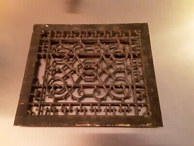 "Vintage Cast Iron Floor Grate Register Victorian Heating Furnace Home 14"" x 12"""