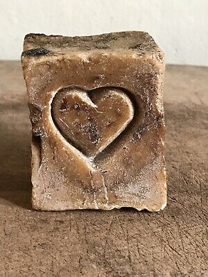 Sweet Old Antique Grungy Chunk Lye Soap Carved Heart Primitive Wash AAFA