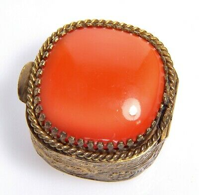 Victorian Venetian Italian Coral Satin Glass Gilt Carved Trinket Pill Box