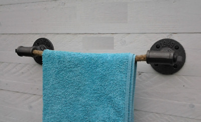 Industrial Style Towel Holder.Jute Rope Cast Iron.Steampunk Urban Nautical