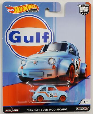 Gulf Fiat 500D 1960 1:64 Car culture Real Riders Hot Wheels NEU FPY86