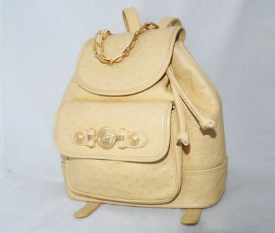 d09234fc1557 GIANNI VERSACE backpack shoulder gold beige yellow ostrich leather bag hand  pack