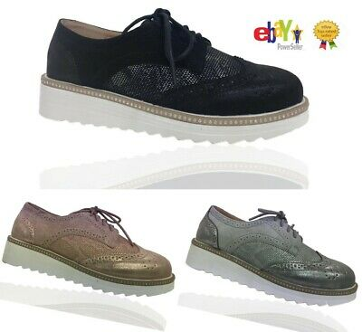 LADIES LACE UP METALIC PLATFORM TRAINE FLAT Womans BROGUES LOAFERS CREEPERS SIZE
