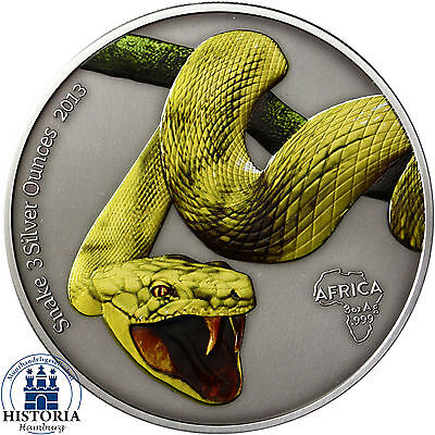 Snake 3 Silver Ounces Gabon 2000 Francs 2013 Antique Finish in Farbe