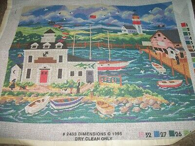 """ Peaceful Harbor "" Printed 12 count Needlepoint Canvas  14"" X 18"""