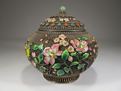 Antique Chinese Export filigree silver, jade & enamel jar # CS17b