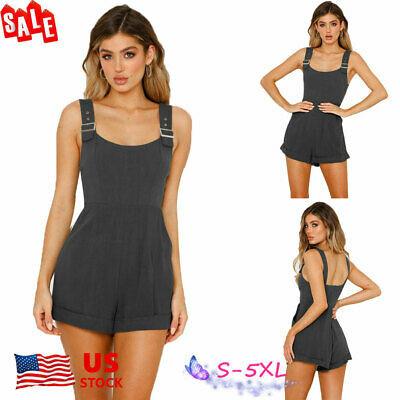 US Womens Sleeveless Linen Jumpsuit Dungarees Playsuit Trousers Shorts Overalls