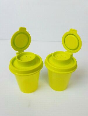 Tupperware Mini Salt And Pepper Shakers Set Of 2 Lime Green New