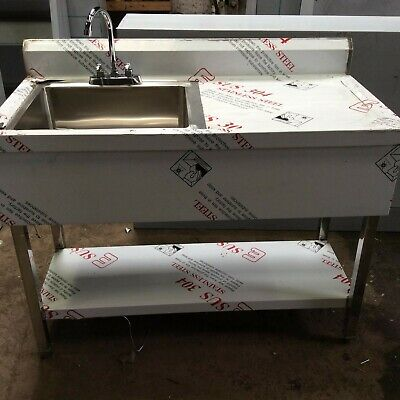 Commercial Sink stainless steel catering kitchen single bow 1.0 unit RH drainer.