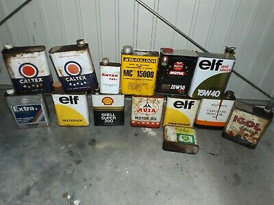 lot 14 bidons huile deco garage elf avia caltex bp ......
