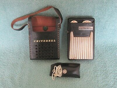 Universal 6 Transistor Radio with Case and Head Phones, Works, Made in Japan