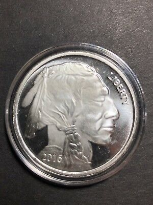 1 Oz SilverTowne Silver Buffalo Round Indian Head .999 In Air-Tite Case