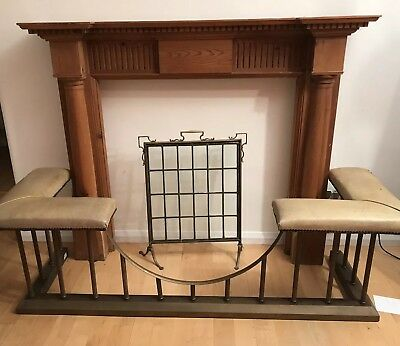 Large antique pine wooden mantlepiece /fireplace - with columns