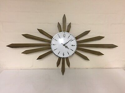 Vintage Iconic Mid Century Metamec Starburst Sunburst Wall Clock Retro