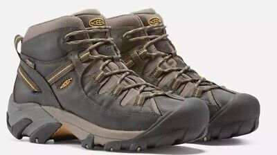 332462dcdcf KEEN 1002375 Targhee II Mid Men s WP Black Olive Yellow Hiking Boots SIZE  11.5