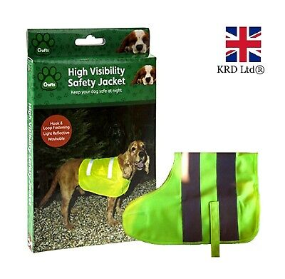 HIGH VISIBILITY DOG VEST Reflective Fluorescent Pet Safety Hi Vis Jacket Coat UK