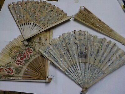 Vintage Hand Held Fold Out Fan Lot of 4 / Lace, Bakelite, Paper