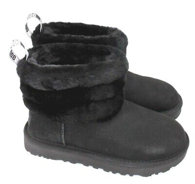 1bab611aec6 UGG CLASSIC MINI Fluff Quilted - Women's Boot - Black -NEW Authentic