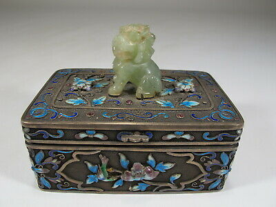 Antique Chinese Export filigree silver, jade & enamel box # CS105