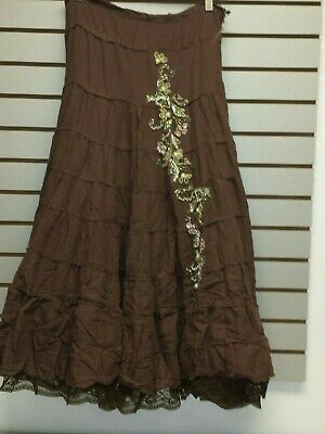 d0058e7fa9 Long boho skirt New Brown tiers lace beads Hippie festival juniors S M L