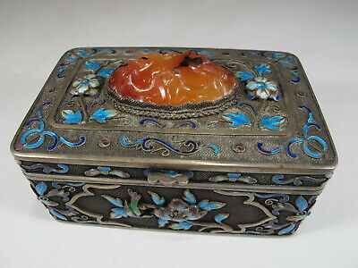Antique Chinese Export filigree silver, agate & enamel box # CS106