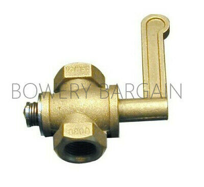 "Brass Gas Valve for Chinese Range Wok 3/8"" NPT Inlet & Outlet"
