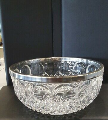 ASCI Silver Plated Germany Crystal Glass Bowl Silver Plated Rim