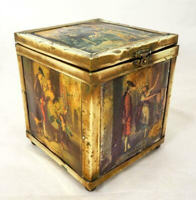 Antique Victorian Shabby Brass-Rimmed Tin-Lined Tea Caddy Box 'Cries of London'