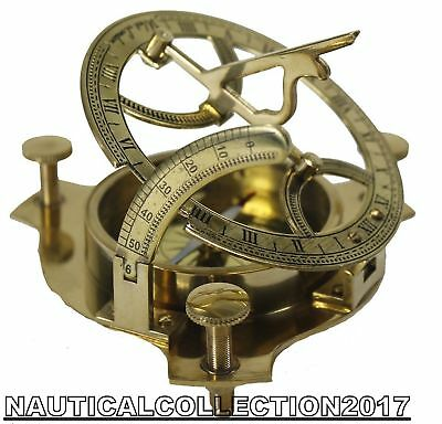 """Nautical Solid Brass 5"""" Vintage West London Marine Working Sundial Compass"""