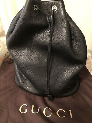 3511c8f7cf71 Authentic Gucci Soho Black Leather Drawstring Backpack