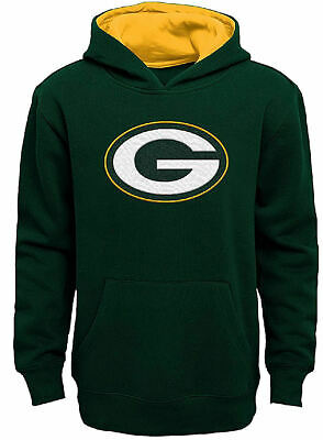 Youth Green Bay Packers Green Primary Embroidered Green Hoodie Sweatshirt