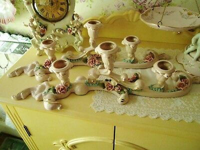"RARE VTG HUGE Pr. Porcelain Reina Califa Candle Holders 17"" WIDE HAND MADE ROSES"