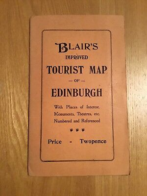 Vintage Blair's Improved Tourist Map Of Edinburgh
