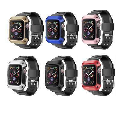 For Apple Watch Series 4 40 44MM One Piece Plating Strap Metal Band Cover Case