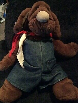 Wrinkles Dog Hand Puppet By Ganz In Overalls