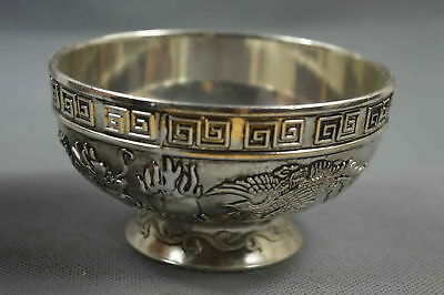 Collectable Exorcism Chinese Miao Silver Carve Dragon Phoenix Old Special Bowl