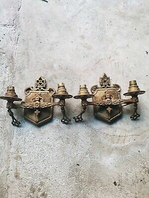 Pair ofAntique brass 1920's wall sconces victorian